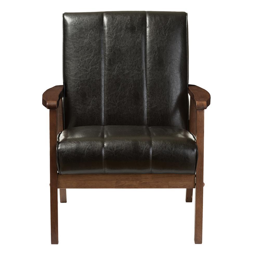 Baxton Studio Nikko Scandinavian Black Faux Leather
