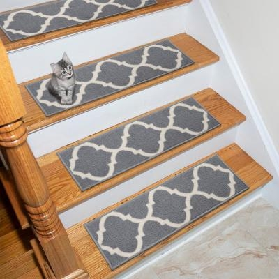 Stair Tread Covers Rugs The Home Depot   Thick Carpet Stair Treads   Non Slip   Cut Pile   Bullnose Carpet   Slip Resistant   Flooring