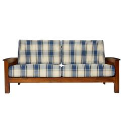 Sofaworks Reading Number Sofas And Couches On Sale Handy Living Omaha Mission Style Sofa With Exposed Wood Frame In Blue Plaid