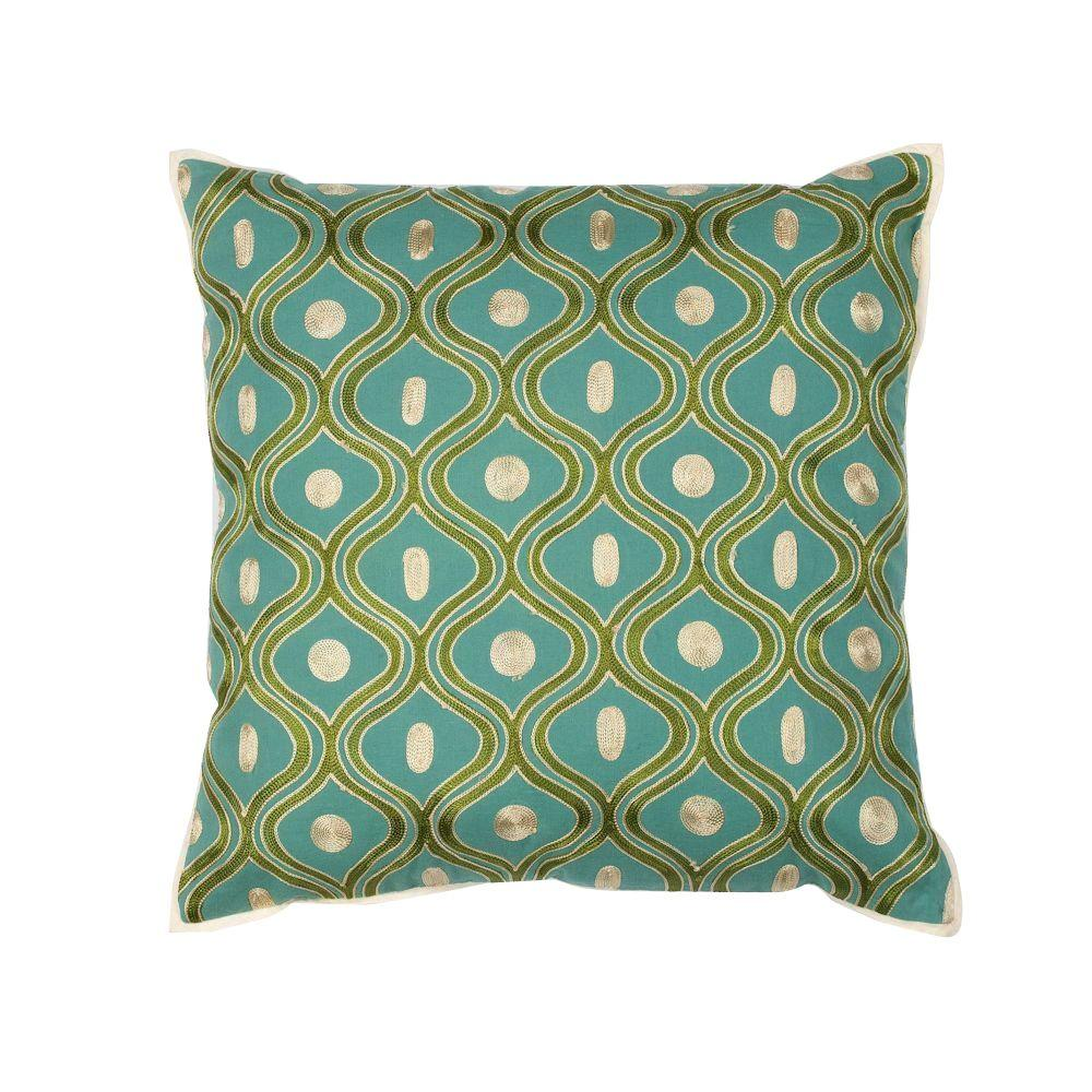 Kas Rugs Scollop TealGold Decorative PillowPILL10618SQ