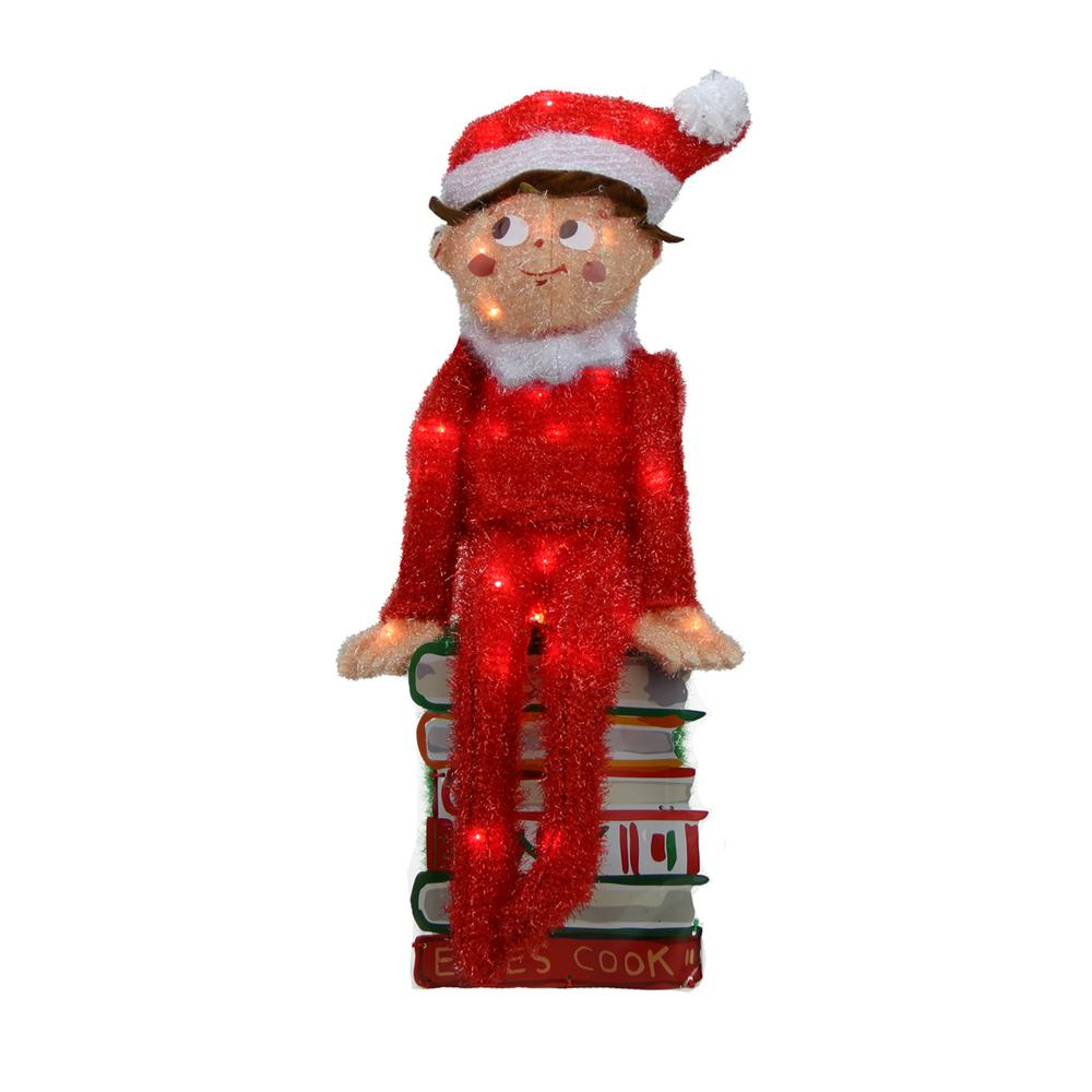 Product Works 24 In Pre Lit Elf On The Shelf 3 D Sitting Elf On Books Christmas Outdoor Decoration And Clear Lights 31741652 The Home Depot