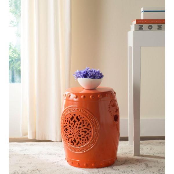 Safavieh Flower Drum Orange Garden Patio Stool-acs4532d