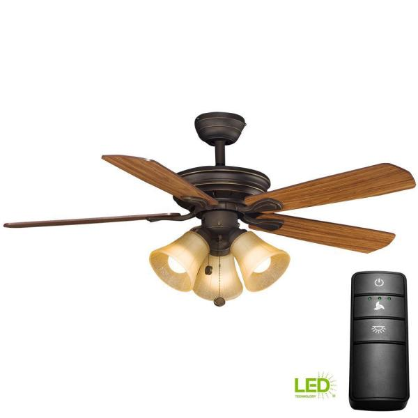 Hampton Bay Westmount 44 In. Led Oil-rubbed Bronze Ceiling Fan With Light Kit And Remote Control