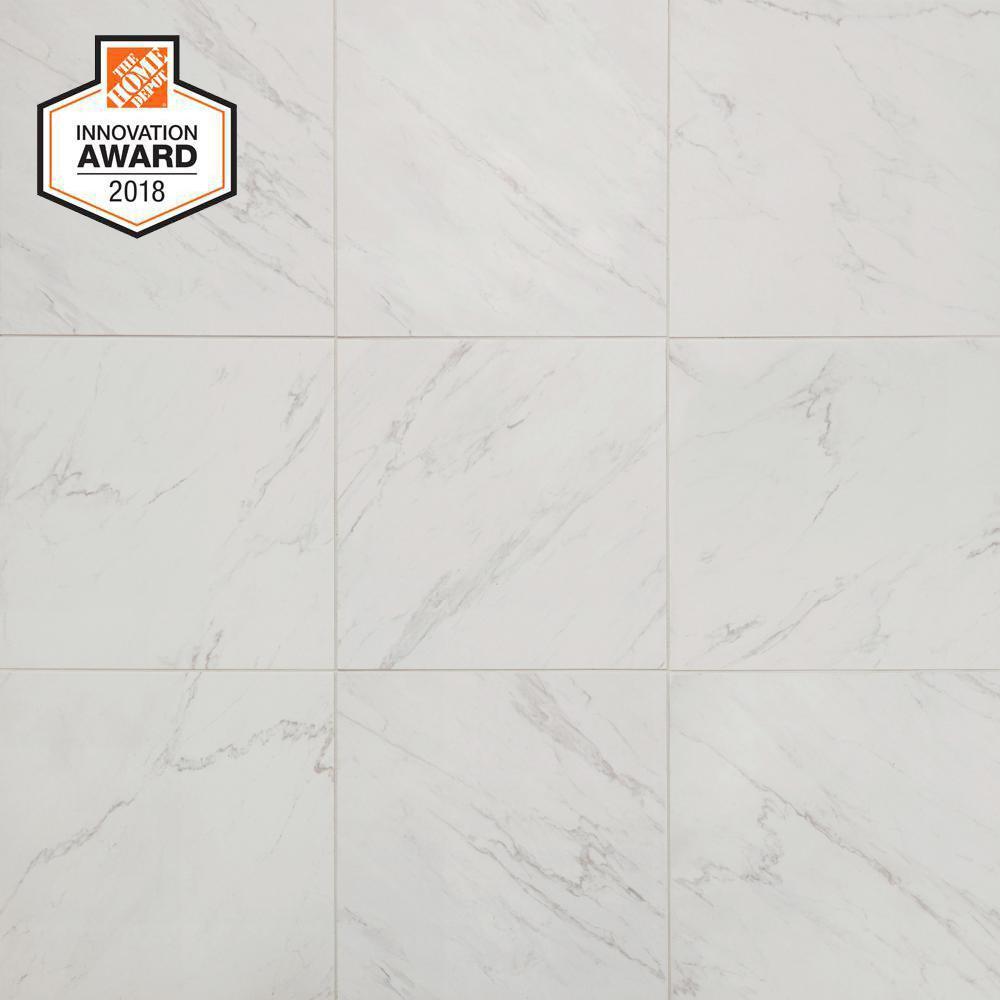 LifeProof Carrara 18 in. x 18 in. Glazed Porcelain Floor