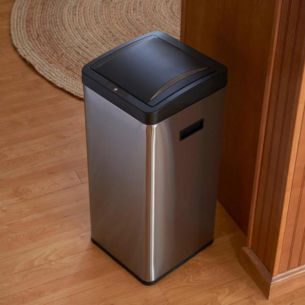Household Essentials 30 L Harbour Square Stainless Bin With Black Lid Liner-94502-1 - Home Depot