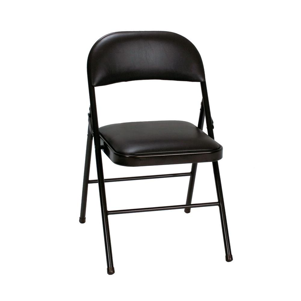 Cosco Black Vinyl Padded Seat Stackable Folding Chair Set