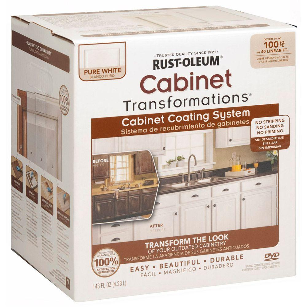 home depot painting kitchen cabinets mechanical scale rust oleum transformations 1 qt pure white cabinet small kit 298060
