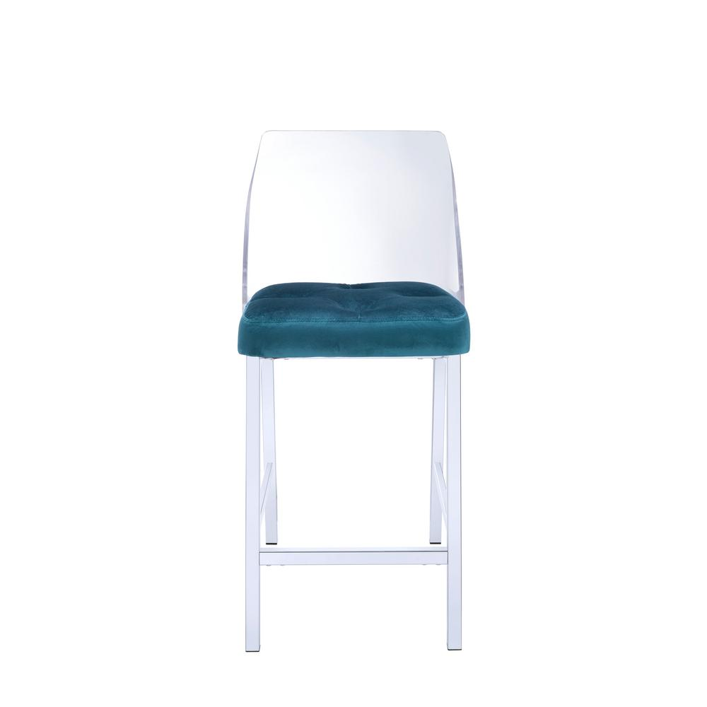 counter height chairs with back barbershop for sale acme furniture nadie ii chrome acrylic and teal velvet chair