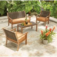 Hampton Bay Kapolei 4-Piece Wicker Patio Conversation Set ...