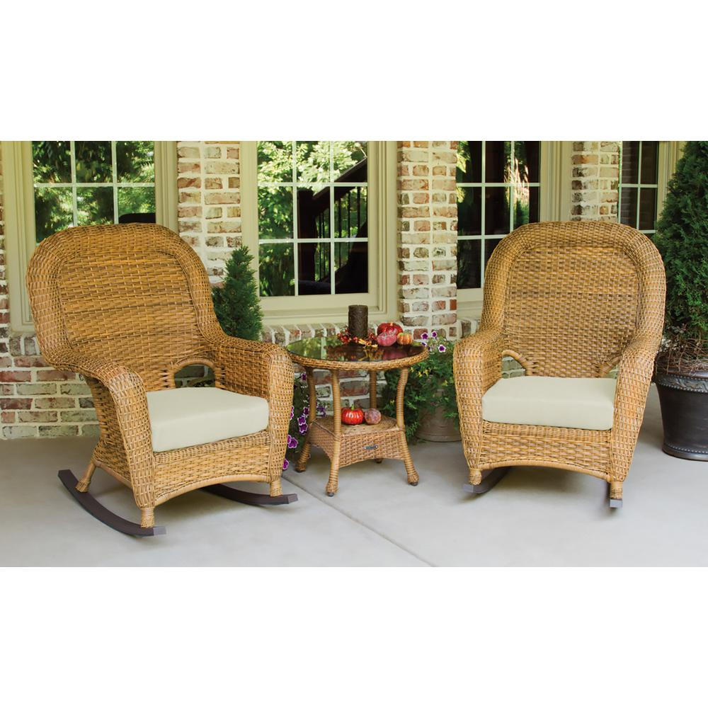 Outdoor Rocking Chair Set Tortuga Outdoor Sea Pines Mojave 3 Piece Wicker Outdoor Rocking Chair Set With Sunbrella Canvas Canvas