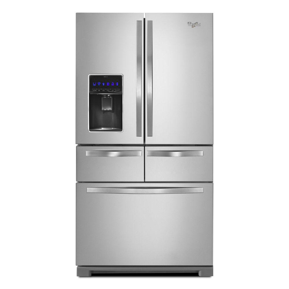 medium resolution of whirlpool 25 8 cu ft double drawer french door refrigerator in monochromatic stainless steel