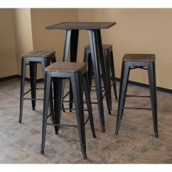 Small Pub Table And Chairs Pink Accent Chair Target Amerihome Loft Style 30 In Bar Set Black With Dark Elm Wood Tops