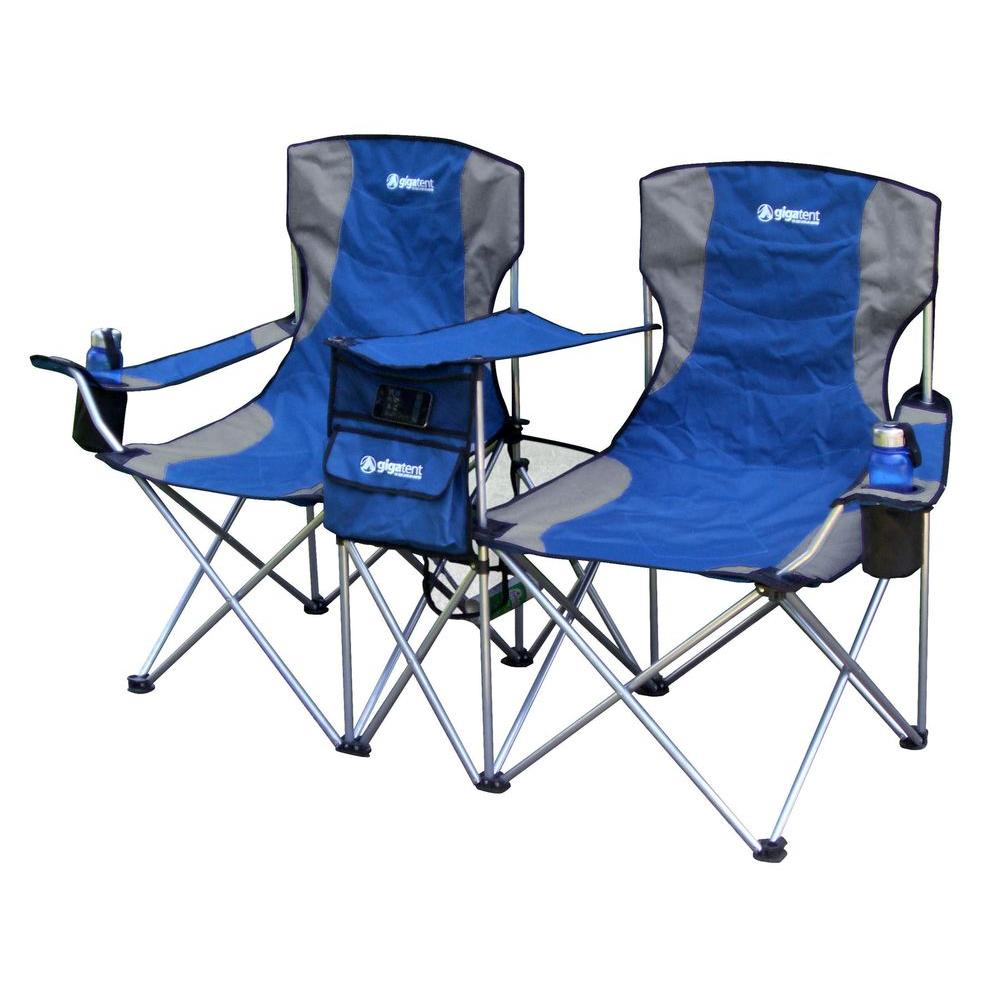 Double Camping Chair Gigatent Sit Side By Side Double Folding Padded Camping Chair In Blue