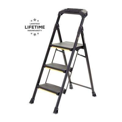 kitchen ladder ikea upper cabinets household utility the home depot 3 step pro grade steel stool with 300 lbs load capacity type