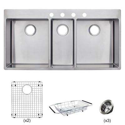 triple sink kitchen slate floor sinks the home depot vector all in one dual mount stainless steel 43 4 hole