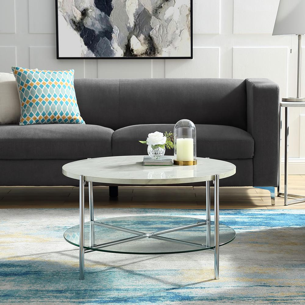 living room glass shelves best gray paint for walker edison furniture company 32 in white marble top shelf chrome legs round coffee