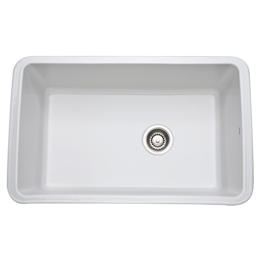 rohl kitchen sinks credenza allia undermount fireclay 31 in single bowl sink white