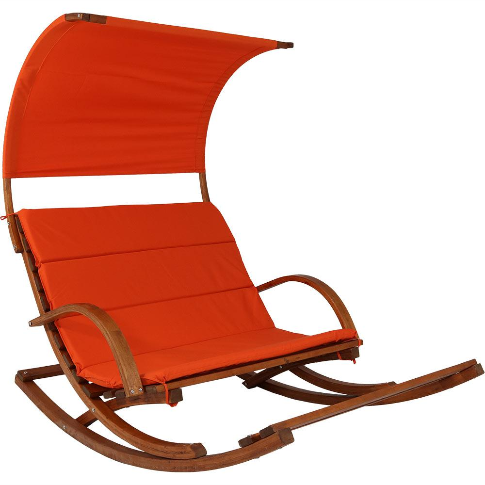 rocking chair footrest high swing combo sunnydaze decor wood outdoor loveseat with burnt orange cushions and canopy
