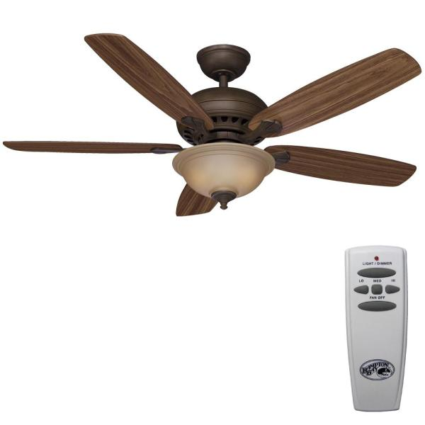 Hampton Bay Southwind 52 In. Led Indoor Venetian Bronze Ceiling Fan With Light Kit And Remote