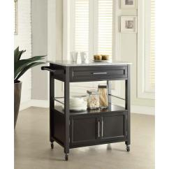 Decor For Kitchen Outdoor And Bar Linon Home Cameron Black Cart With Storage