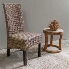 Solid Wood Chairs Outdoor Furniture Java No Assembly Mahogany And Rattan Weave Parsons Chair Set Of 2