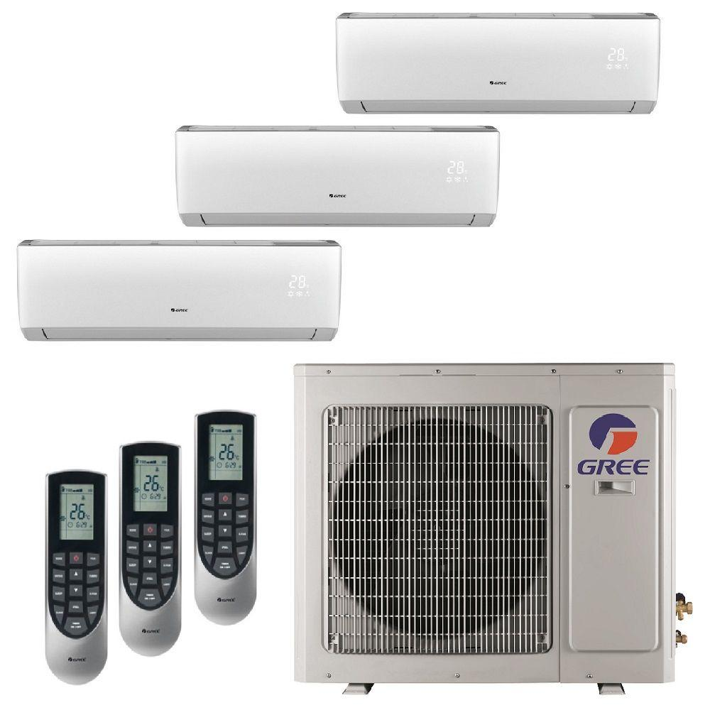 medium resolution of gree multi 21 zone 29000 btu ductless mini split air conditioner with heat inverter and remote 230 volt 60hz multi30hp303 the home depot