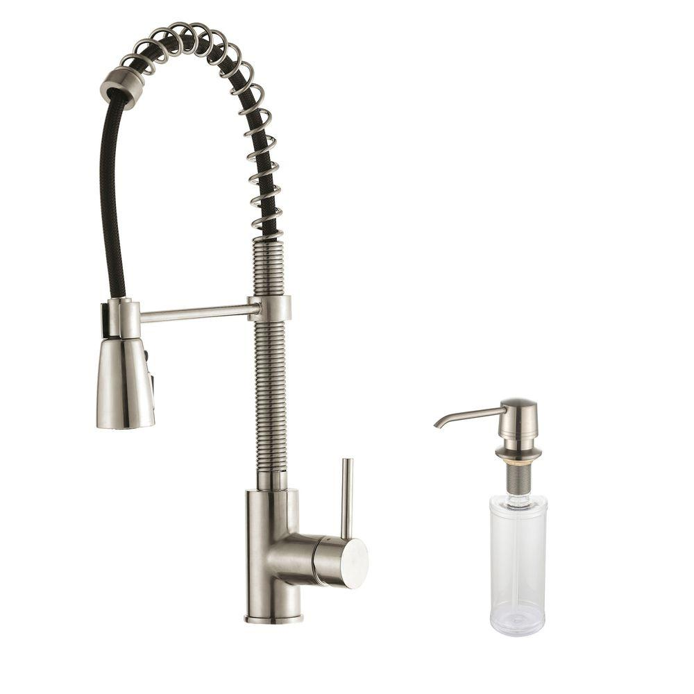 kitchen faucets stainless steel play kitchens for kids kraus commercial style single handle pull down sprayer faucet with soap dispenser
