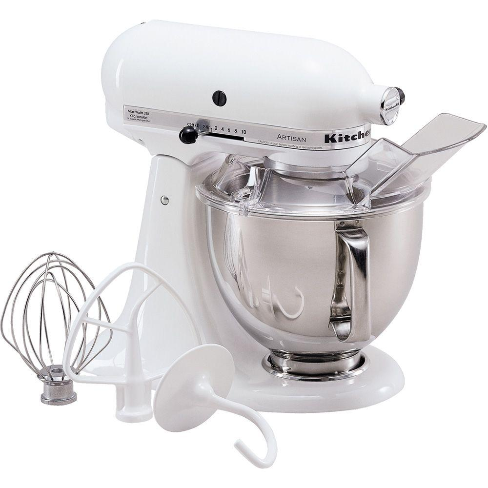 white kitchen aid glass top tables kitchenaid artisan 5 qt stand mixer ksm150pswh the home depot
