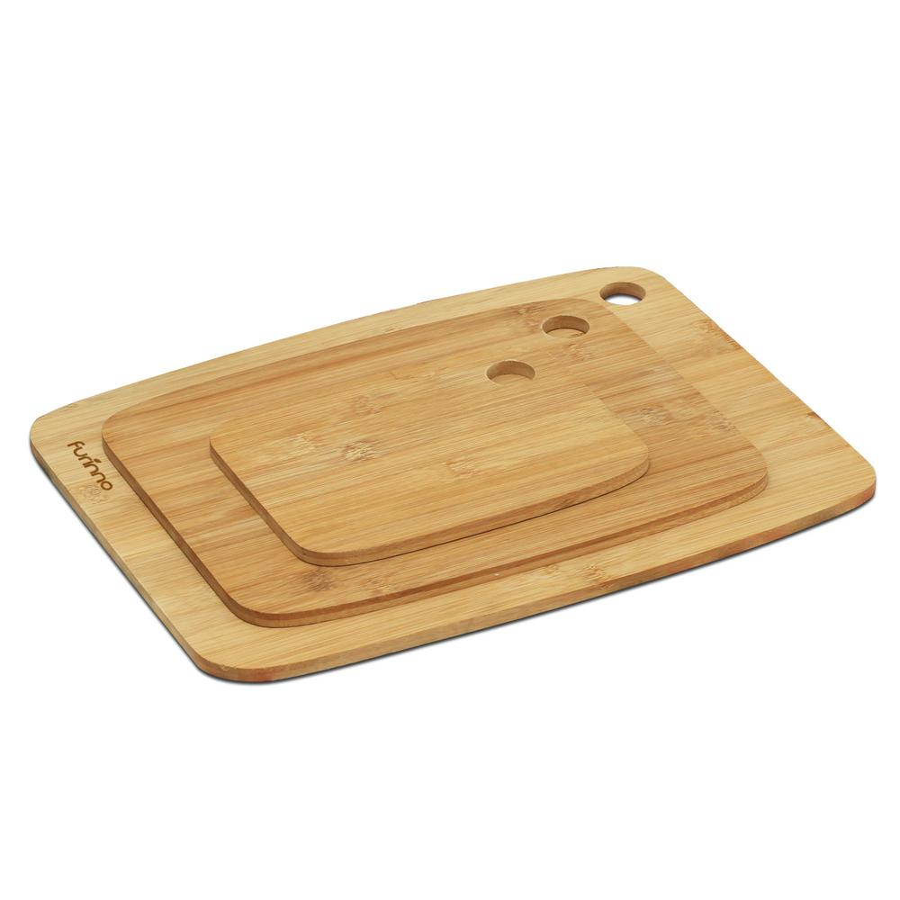 kitchen cutting board cabinet door replacement lowes boards cutlery the home depot dapur 3 piece bamboo grip handles set