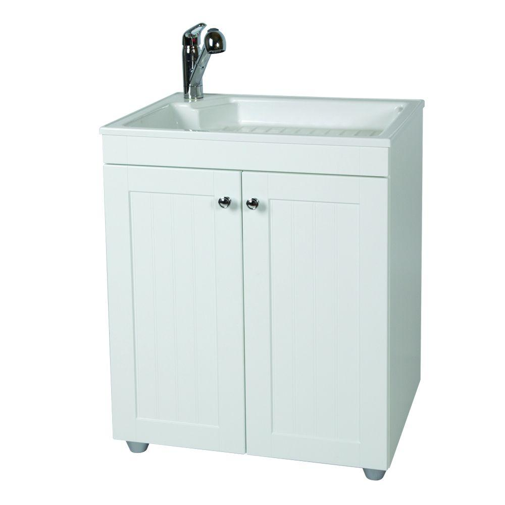reviews for glacier bay all in one 27 in w x 34 in h x 22 in d composite laundry sink with faucet and storage cabinet bc2732com wh the home