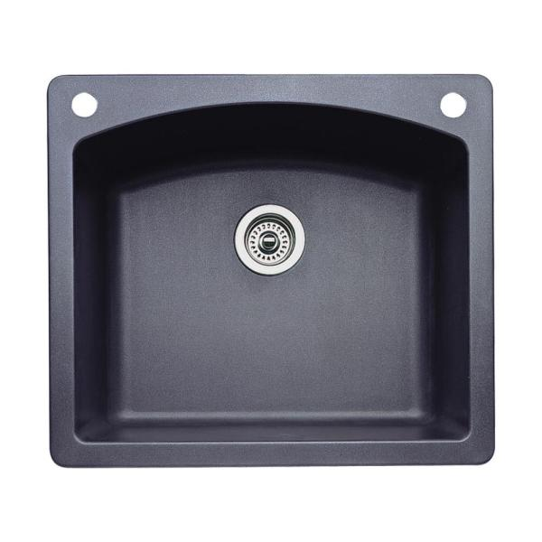 Blanco Diamond Dual-mount Granite 25 In. 2-hole Single Bowl Kitchen Sink In Anthracite-440210-2
