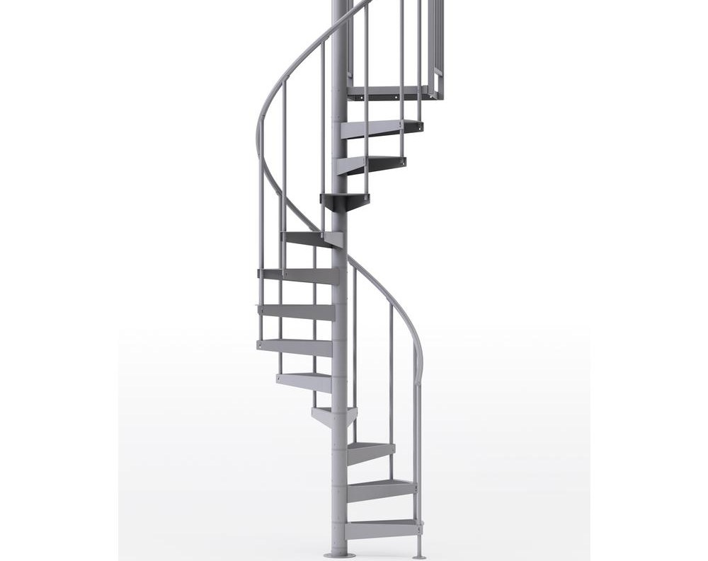Mylen Stairs Condor Gray 42 In 3 Ft 6 In Wide 10 Treads With | 10 Foot Spiral Staircase | Reroute Galvanized | Lowes | Stair Kit | Winding Staircase | Staircase Kit