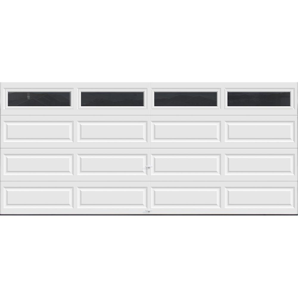 Clopay Classic Collection 16 Ft X 7 Ft 12 9 R Value Intellicore Insulated White Garage Door With Windows Exceptional Hdpl13 Sw Plain The Home Depot