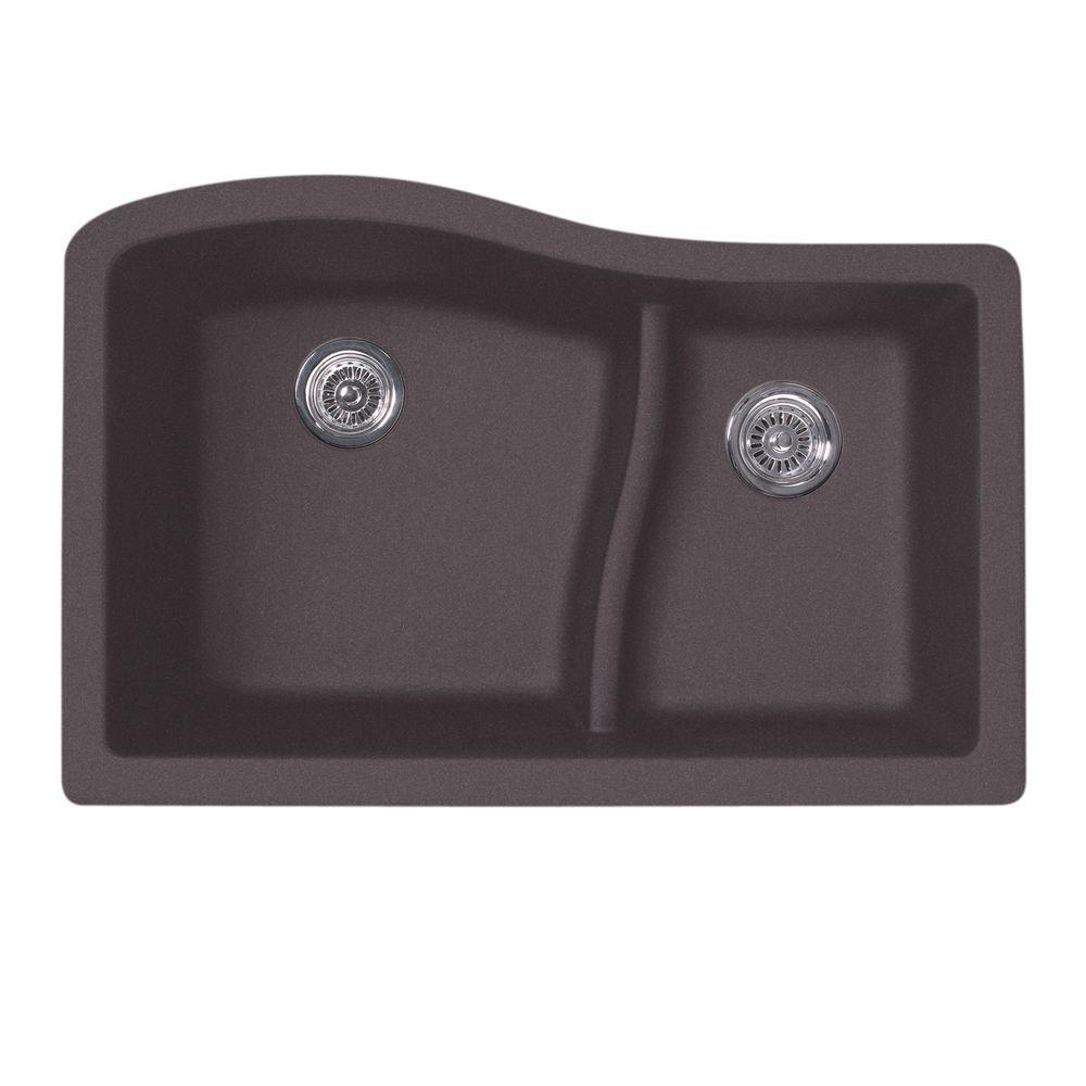 swanstone kitchen sinks organization ideas swan undermount granite 32 in. 0-hole double bowl ...