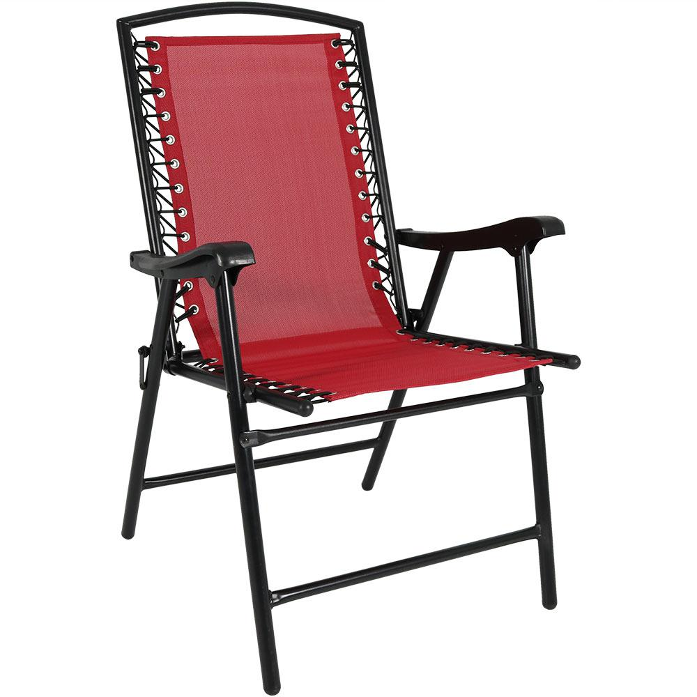 Foldable Lawn Chairs Sunnydaze Decor Red Sling Folding Beach Lawn Chair