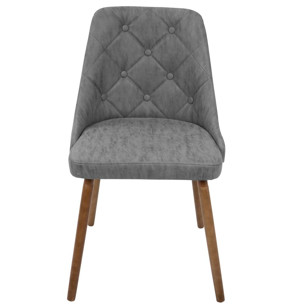 modern gray dining chairs gym chair amazon lumisource giovanni mid century grey button tufted faux leather