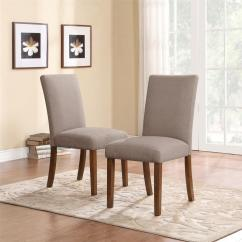 Parson Chairs Rustic Accent Dorel Living Taupe Dark Pine Linen Parsons Set Of 2