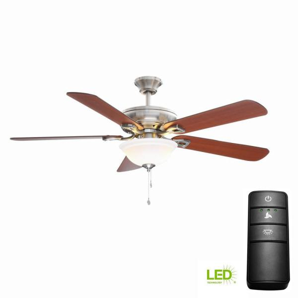 Hampton Bay Rothley 52 In. Led Brushed Nickel Ceiling Fan With Light Kit And Remote Control