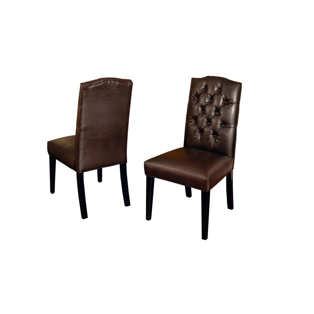 leather tufted dining chair christopher knight noble house crown brown set of 2