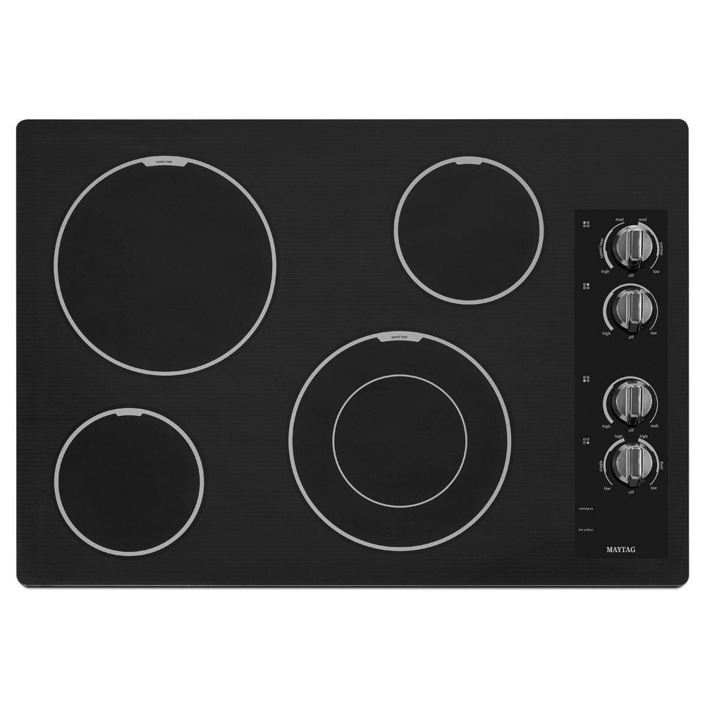 medium resolution of maytag 30 in ceramic glass electric cooktop in black with 4 elements including dual choice