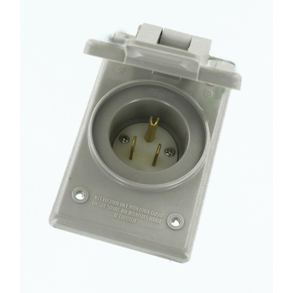 medium resolution of 15 amp 125 volt straight blade grounding power inlet outlet gray
