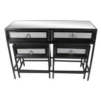 Classic Black Wood and Metal Console Table and End Tables ...