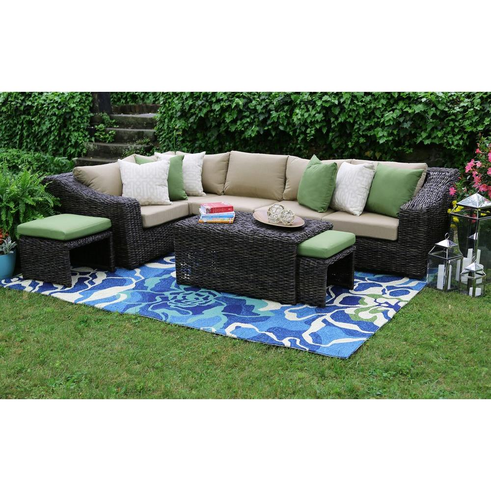 all weather garden chairs brown slipper chair ae outdoor williams 8 piece wicker patio sectional set with beige cushions