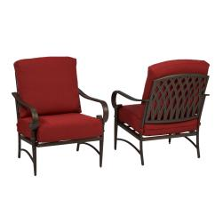 Cheap Outdoor Lounge Chairs Hanging Chair Pier One Hampton Bay Oak Cliff Stationary Metal With Chili Cushion 2 Pack
