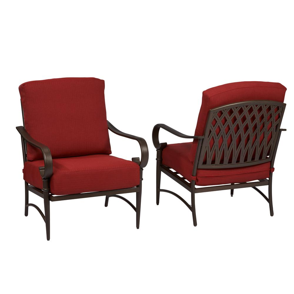 Stationary Chair Hampton Bay Oak Cliff Stationary Metal Outdoor Lounge Chair With Chili Cushion 2 Pack