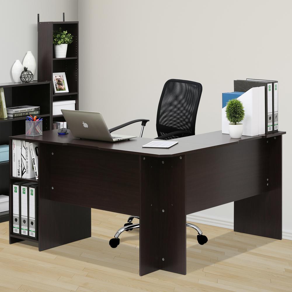 Furinno Indo Espresso LShaped Desk with Bookshelves