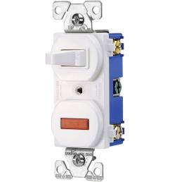 heavy duty grade 15 amp combination single pole toggle switch and pilot light in white [ 1000 x 1000 Pixel ]