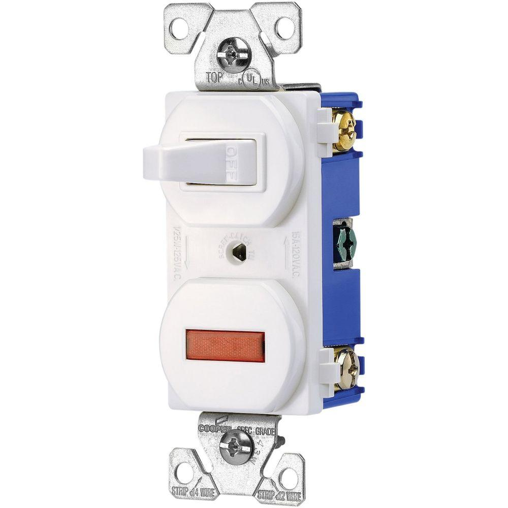 medium resolution of heavy duty grade 15 amp combination single pole toggle switch and pilot light in white