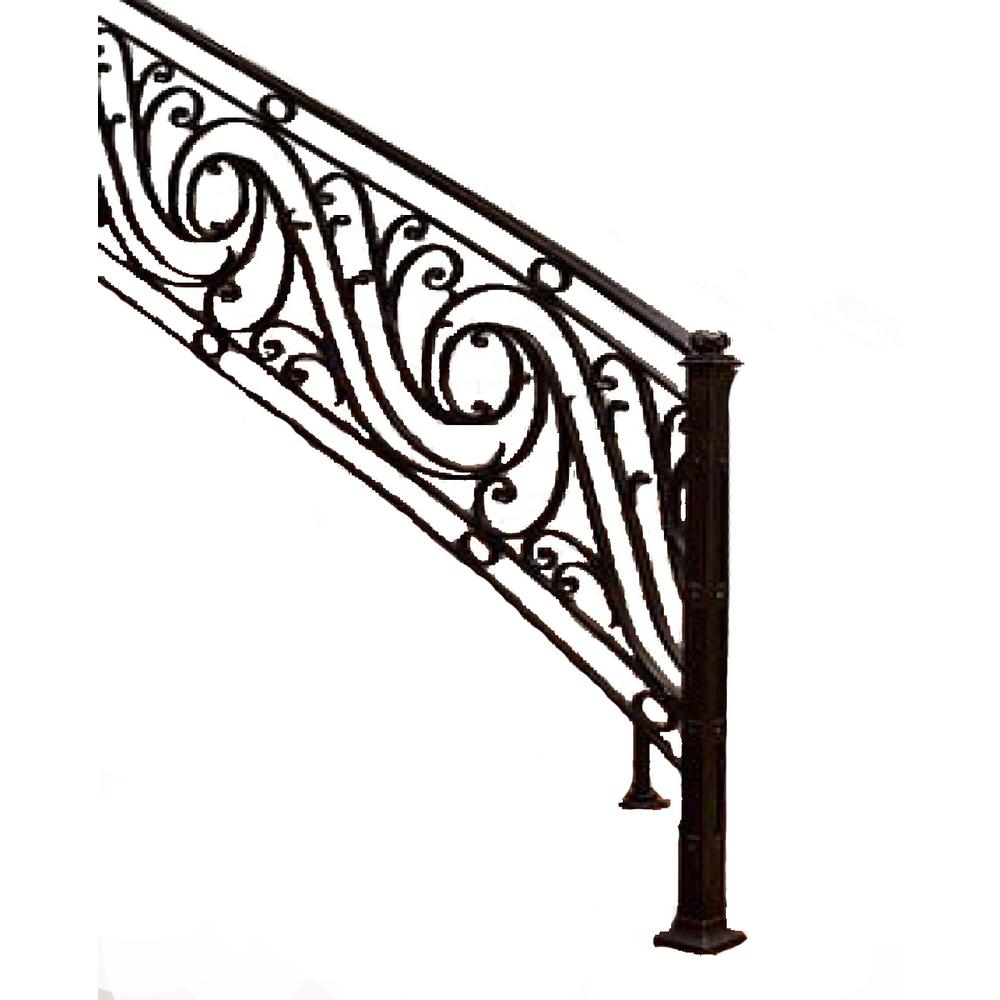 96 In L X 38 In H Finished Black Wrought Iron Baluster Railing   Rod Iron Stair Railing   Balusters   Horizontal   Ironwork   Banister   Spanish Style