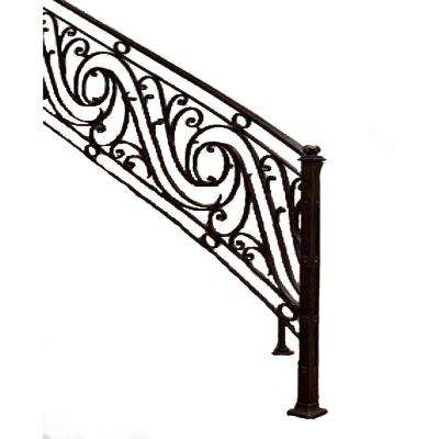 Iron Stair Railings Stair Parts The Home Depot | Exterior Iron Stair Railing | Temporary | Front Step | Aluminum | Front Entrance | Fancy